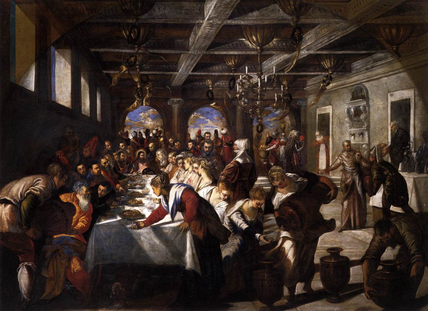 """""""Jacopo Tintoretto - Marriage at Cana - WGA22470"""" by Tintoretto - Web Gallery of Art:  Image Info about artwork. Licensed under Public Domain via Commons"""